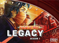Pandemic Legacy, Z-Man Games, 2015 — red cover; components are identical in both versions (image provided by the publisher)