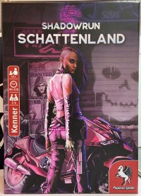 Shadowrun: Schattenland, Pegasus Spiele, 2020 — cover on display at Spielwarenmesse 2020