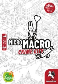 MicroMacro: Crime City, Edition Spielwieses / Pegasus Spiele, 2020 — front cover, English edition (image provided by the publisher)