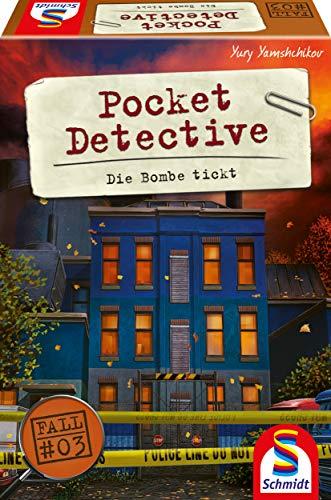 Schmidt Spiele 49379 Pocket Detective, Die Bombe tickt, Krimi-und Dedektivspiel, Kartenspiel, Bunt