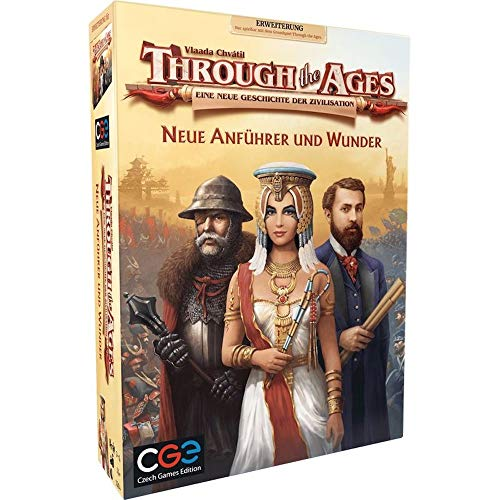 Through the Ages: New Leaders and Wonders, Czech Games Edition, 2019 — front cover, non-final (image provided by the publisher)