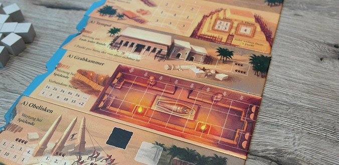 Imhotep - Die Teile des Spielbretts