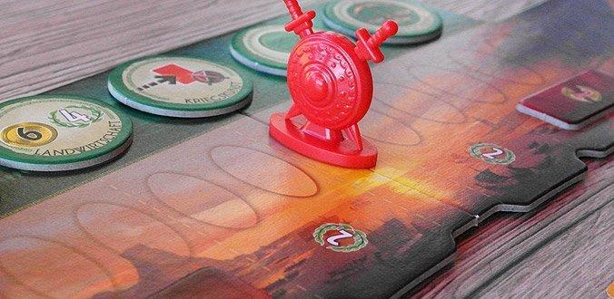 7 Wonders Duell - Militärleiste und Fortschrittsmarker
