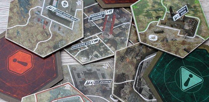 Flexibler Aufbau des Spielfeldes - Fallout Brettspiel