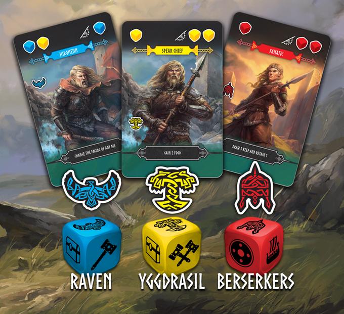 Reavers of Midgard - Plünderer-Karten und Würfel (Quelle: Kickstarter)