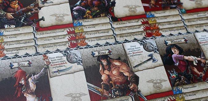 Die Charakterkarten enthalten vor allem die Fähigkeiten