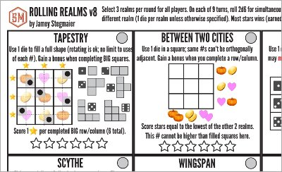 Print and Play Brettspiel - Rolling Realms