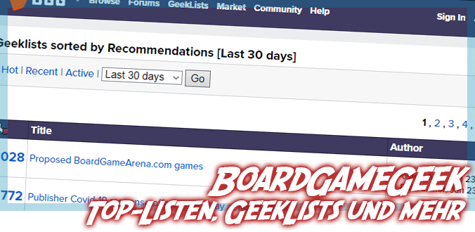 BoardGameGeek Top-Listen - Most Played, Most Owned, Solo, GeekLists und mehr